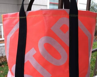 STOP tote / one of a kind - repurposed tent awning and safety patrol sign
