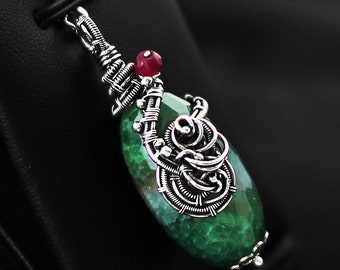 Snake agate pendant, wire-wrapping, wrapped agate pendant, green, hot green agate, wire wrap, mystery pendant, silver pendant, 925, .925