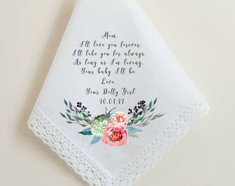 Wedding Handkerchief, I'll love you forever, I'll like you for always, as long as I'm living your baby I'll be, Printed Hankie, Mom - 66