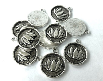 Lotus Charm, Antique Silver, Nunn Design