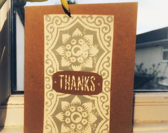 Thank You Card- Wood Block Stamping