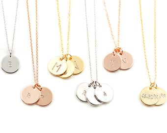 Disc Necklace, Gold Circle, Personalized Initial Necklace, Disc Necklace, Custom Initial Necklace, Simple gold Necklace, gift for woman, mom