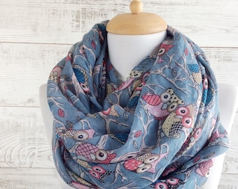 Owl Scarf Bird scarf infinity scarf spring summer scarf owl black scarf  infinity scarf birds scarf cute scarf gift ideas mothers day gift
