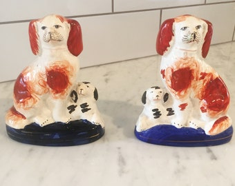 Staffordshire Dog Pair, Vintage Staffordshire Dogs, English Pottery, Victorian Spaniels, English Dogs, Staffordshire Figurines