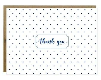Navy Polka Dot Thank You Greeting Card