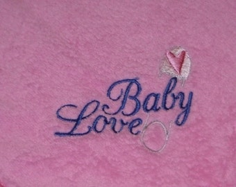 Ready to Ship Pink Blanket Embroidered BABY LOVE w/ Heart Safety Pin