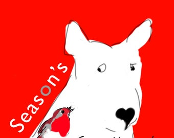 "Shocked English Bull Terrier Christmas Card Pack of Five ""Christmas Already?"""