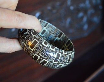 papier mache brown bohemian bangle bracelet