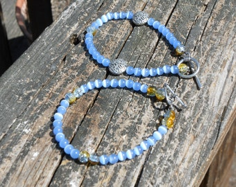 Yellow crackle and light blue cats eye beaded anklet set,beach style anklets,sea inspired anklets