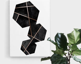 Black Rose Gold Hexagon Print, Print Art, Geometric Art, Abstract Art, Scandinavian Print, Minimalist Art, Digital Art, Printable Art