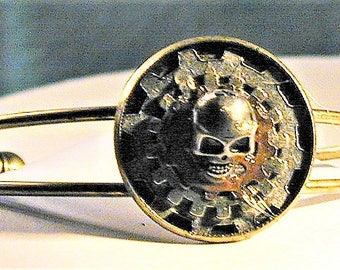 Steampunk Goth Gears & Skull Bracelet  OOAK