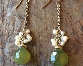 Chalcedony gemstone and freshwater pearl silver dangle earrings