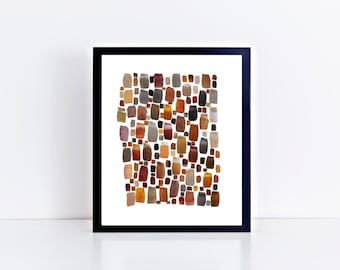 Abstract Watercolor Print, various sizes, geometric, wall art