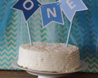 Blue Custom Made ONE Cake Bunting 1st Birthday Shades of Blue Smash Cake Photo Shoot Cake Table Decoration