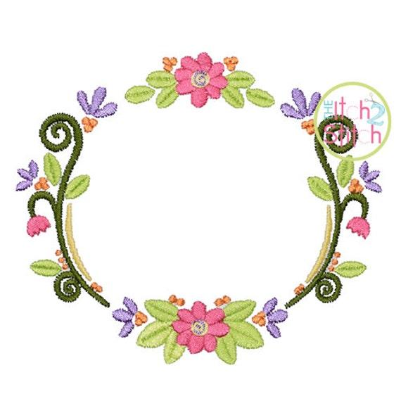 Marco diseño de máquina de bordado de flores demostrado con