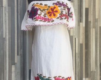 Strapless Dress ~ Chiapas Dress ~ Huipil ~ Mexican Dress ~ Enthic ~ Boho Dress ~ Hippie Dress ~ Floral Dress ~ Vintage Style~Womens Gift