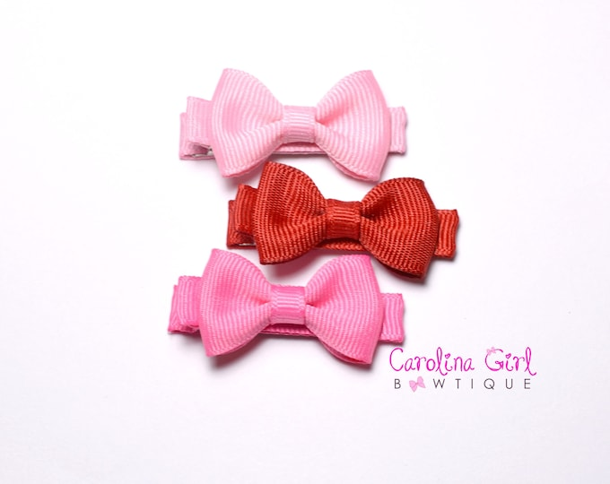 3 Pack Mini Hair Bows ~ Valentines ~ Pink, Red, and Hot Pink - Girls Hair Bows - Clippies - Baby Hair Bows