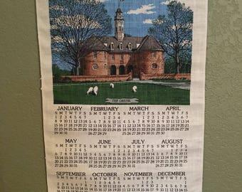 1984 Tea Towel Calendar • Burlap Calendar • Vintage Hanging Calendar