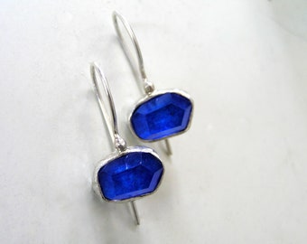 Lapis Lazuli Doublet Sterling Silver Earrings. Cobalt Blue Sterling Silver Earrings.
