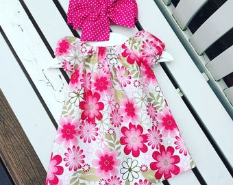 Baby Toddler Girl's DRESS cotton pink white floral fabric vintage retro style 0-3 months 3-6 months 6-12 months 12-18 months 18-24 months