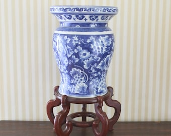 Vintage Chinoiserie Jardiniere with Stand