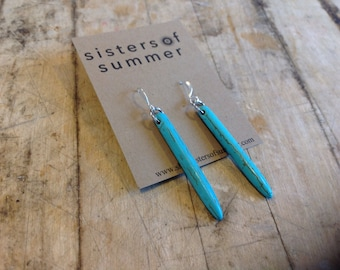 Turquoise Howlite Spike Earrings