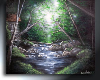 Green Landscape In The Forest With Water Painting 20 x 24 Original Artwork On Canvas Ready To Hang