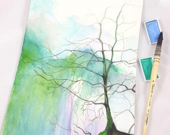 Modern watercolor, tree without leaves above a waterfall, copy of author, contemporary home office decoration, lounging, gift idea for man.