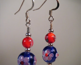 Floral Lampwork Drop Dangle Earrings