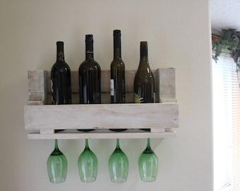 Rustic pallet wood wine rack