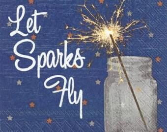 Patriotic NAPKINS, Fourth of July Napkins, Sparkler Napkins, American Napkins, Red White Blue Napkins, Fireworks Napkins, Americana Napkins
