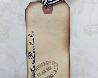 Lot of 6 coffee stained vintage French script shipping tags
