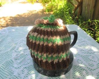 Vintage Tea Cozy - Stripey - Brown, Green, Tan - Vintage Style for your teapot.
