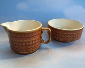 Hornsea Mid Century Saffron English Pottery Cream Pitcher and Sugar Bowl