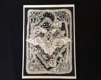 A4 Bat Print