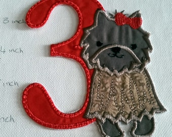 Iron On Patch Yorkie with Number or Alpha / Letter/ Initial, DIY, Yorkie patch, yorkie applique