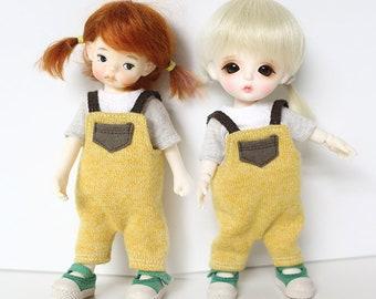 Yellow Knit overalls/ 16cm Tiny BJD: PukiFee Lati Yellow Tiny Delf & similar sized dolls Pocket dolls