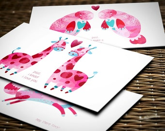 Valentine's Day Card Set, Watercolor Animal Love Notes, Set of 15 Notecards with Envelopes