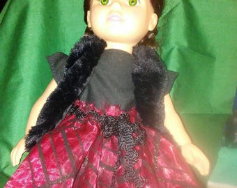 "18"" doll Red Black Gown with Black Fur Vest"