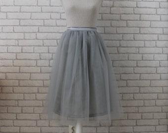 Gray Tulle Skirt - Grey Tulle Skirt - Women Tulle Skirt - Tulle Skirt - Adult Tulle Skirt - Bridesmaids Tulle Skirt - Plus Size Tulle Skirt