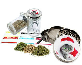 "Santa Cat - 2.5"" Zinc Alloy Grinder & 75ml Locking Top Glass Jar Combo Gift Set Item # 50G102015-36"