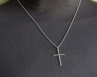Silver Necklace Cross Necklace Simple Cross Necklace Godmother Gift Baptism Gift Christian Jewelry RISEN NECKLACE