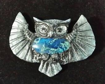 Dark Silver Owl Brooch