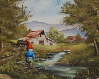 "4"" by 6"" postcard print, ""Gnome"" Altered Thrift Store Art"