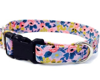 "Rifle Paper Co Dog Collar, Floral Dog Collar, Girl Dog Collar, Pink Dog Collar, Custom Dog Collar, Vintage Inspired, ""The Rosa Collection"""