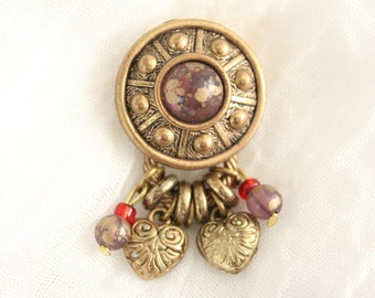 Vintage Gold And Purple Button Cover . Unsigned