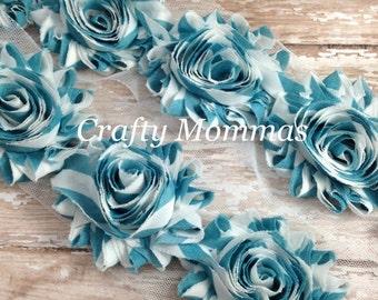ON SALE Turquoise Chevron Shabby Rose Trim - 1 Yard - Shabby Flower - Baby Headbands, Scrapbooking, DIY, Chiffon Trim, Wholesale Flowers, Su