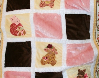 "Appliqued Minky Baby Blanket ""Tea For Two """