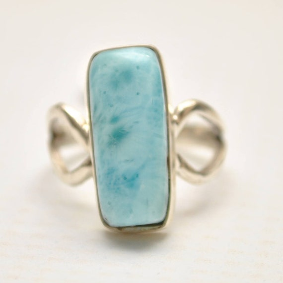 Sterling Silver Larimar Rectangle Ring Sz 7  #9353