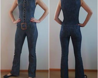 Vintage  Blue Jumpsuit, Bodycon Jumpsuit,  Sleeveless Jumpsuits,  1970s/1980s